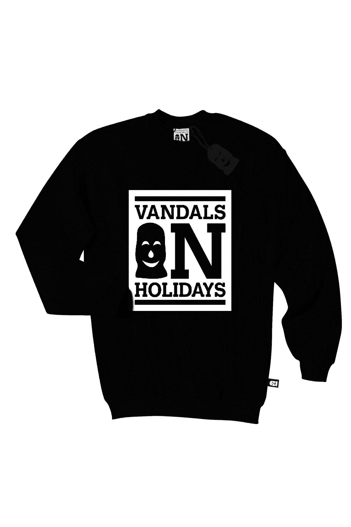905e10849b Vandals On Holidays CLASSIC LOGO Felpa girocollo Nera